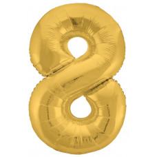Шар (40''/102 см) Цифра, 8 Slim, Золото, 1 шт. в упак. Agura