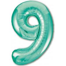 Шар (40''/102 см) Цифра, 9 Slim, Бискайский зеленый, 1 шт. в упак. Agura