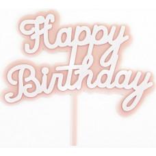 Топпер Happy Birthday, Розовый, 14*15 см, 1 шт.