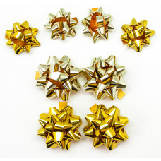 Бант Звезда, Золотой микс, Голография, 7 см, 8 шт.