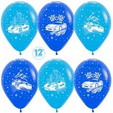 """Шар 12""""/30см Пастель """"Машины"""" синий голубой 5ст 50шт Sempertex"""
