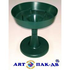 Поддон чаша на ножке 13*14см зелёный