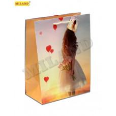 """Пакет подарочный """"Девочка с букетом"""" L"""