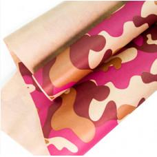 Упаковочная бумага, Крафт (0,7*10 м) Камуфляж, Бордовый/Малиновый, 1 шт.