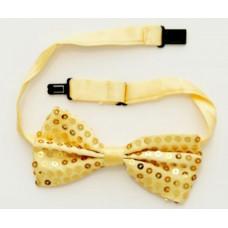 Маскарадный галстук-бабочка из полиэстера 10см золотой