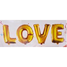 """Шар (24''/64 см) Фигура, Надпись """"Love"""", Золото, 1 шт. Falali"""
