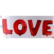 """Шар (24''/64 см) Фигура, Надпись """"Love"""", Красный, 1 шт. Falali"""