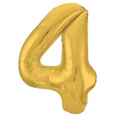 Шар (40''/102 см) Цифра, 4 Slim, Золото, 1 шт. в упак. Agura
