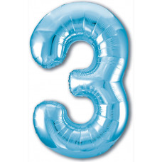 Шар (40''/102 см) Цифра, 3 Slim, Голубой, 1 шт. в упак. Agura