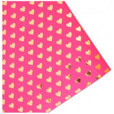 Упаковочная бумага (0,53*0,75 см) Сердца, Розовый, 1 шт.