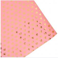 Упаковочная бумага (0,53*0,75 см) Сердца, Светло-Розовый, 1 шт.