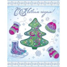 """Новогоднее украшение на окно из ПВХ плёнки 30*38см """"С Новым Годом"""" с глитером"""