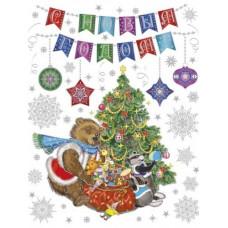 """Новогоднее украшение на окно из ПВХ плёнки 30*38см """"Медвежонок и еноты"""" с глитером"""
