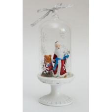 """Новогоднее украшение из полирезины и стекла 6.4*6.4*16см """"Дед Мороз и Медвежонок"""""""