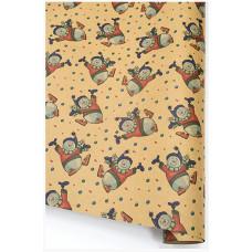 Упаковочная бумага, Крафт (0,7*1 м) Веселые снеговики, 10 шт.