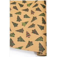 Упаковочная бумага, Крафт (0,7*1 м) Праздничные елочки, Новогодний танец, 10 шт.