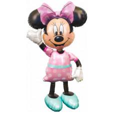 Шар (54''/137 см) Ходячая Фигура, Минни, розовое платье, 1 шт. в упак. Anagram