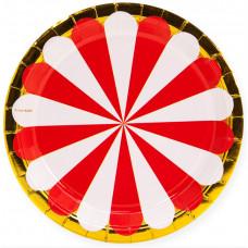 Тарелки (9''/23 см) Золотая кайма, Красный/Белый, 6 шт.