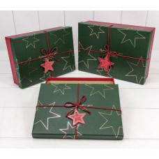 Коробка  Звезды, Красный/Темно-зеленый, 26*19*8 см, 1 шт.