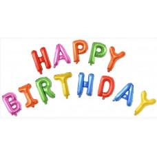 """Набор шаров-букв (16''/41 см) Мини-, Надпись """"Happy Birthday"""", Ассорти, в упаковке 1 шт. Falali"""