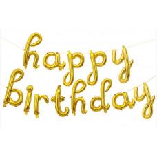 """Набор шаров-букв (17''/43 см) Мини-, Надпись """"Happy Birthday"""", Золото, в упаковке 1 шт. Falali"""