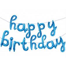 """Набор шаров-букв (17''/43 см) Мини, Надпись """"Happy Birthday"""", Голубой, в упаковке 1 шт. Falali"""