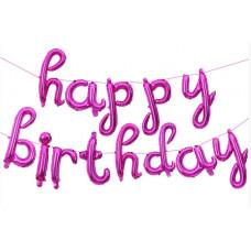 """Набор шаров-букв (17''/43 см) Мини-, Надпись """"Happy Birthday"""", Розовый, в упаковке 1 шт. Falali"""