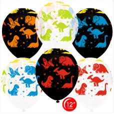 Шар (12''/30 см) Яркие динозаврики, Ассорти, кристалл, 5 ст флюор, 25 шт. Орбиталь