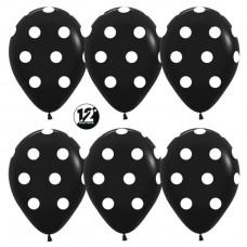 Шар (12''/30 см) Белые точки, Черный (080), пастель, 5 ст, 50 шт. Sempertex