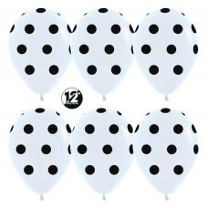 Шар (12''/30 см) Черные точки, Белый (005), пастель, 5 ст, 50 шт. Sempertex