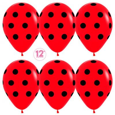 Шар (12''/30 см) Черные точки, Красный (015), пастель, 5 ст, 50 шт. Sempertex