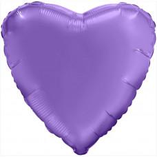 Шар (18''/46 см) Сердце, Пурпурный, Сатин, 1 шт. Agura