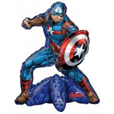 Шар (26''/66 см) Ходячая Фигура, Мстители, Капитан Америка, 1 шт. в упак. Anagram