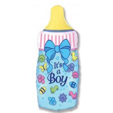 Шар (14''/36 см) Мини-фигура, Бутылочка для мальчика, Голубой, 1 шт. Flexmetal