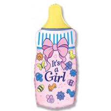 Шар (14''/36 см) Мини-фигура, Бутылочка для девочки, Розовый, 1 шт. Flexmetal