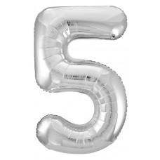 Шар (40''/102 см) Цифра, 5 Slim, Серебро, 1 шт. в упак. Agura