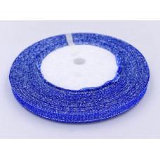 Лента Парча 0,6см*50ярд синий с серебром