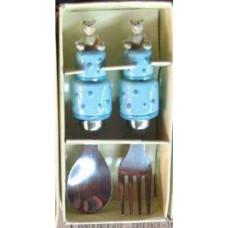 Набор столовых приборов с рабочей частью из нержавеющей стали в ручке из полирезины