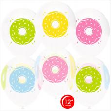 Шар (12''/30 см) Пончики, Белый (801)/Прозрачный (701), кристалл, 4 ст, 50 шт. Орбиталь