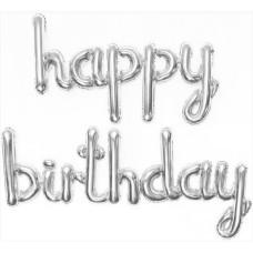 "Набор шаров (17''/43 см) Мини-Надпись ""Happy Birthday"", Серебро, в упаковке 1 шт. Falali"