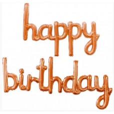 """Набор шаров (17''/43 см) Мини-Надпись """"Happy Birthday"""", Розовое Золото, в упаковке 1 шт. Falali"""