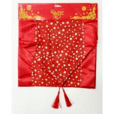"""Скатерть-дорожка из полиэстера 35*140см """"Золотые звёздочки"""" красный"""