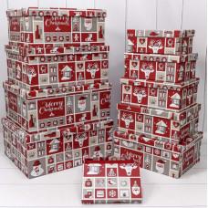 Коробка С Новым Годом (аппликация), Красный, 19*13*7,5  см, 1 шт.