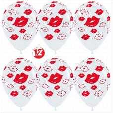 Шар (12''/30 см) Поцелуи, Белый (005), пастель, 5 ст, 50 шт.