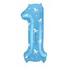 Шар (40''/102 см) Цифра, 1, Slim, Лошадки, Голубой, в упаковке 1 шт. Agura