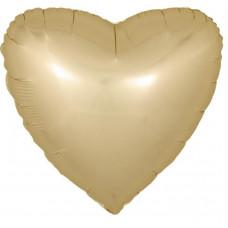 Шар (18''/46 см) Сердце, Золото, Сатин, 1 шт.