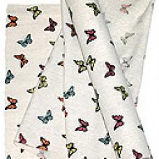 Ткань декор. 11/05 искуств. лен цветные бабочки 48см*4.5м
