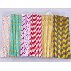 Трубочки для коктейля бумажные в ассортименте 25 шт.