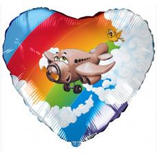 Шар (19''/48 см) Сердце, Самолет, 1 шт. Agura