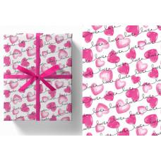 Упаковочная бумага (0,7*1 м) Сердца, Белый, 5 шт.